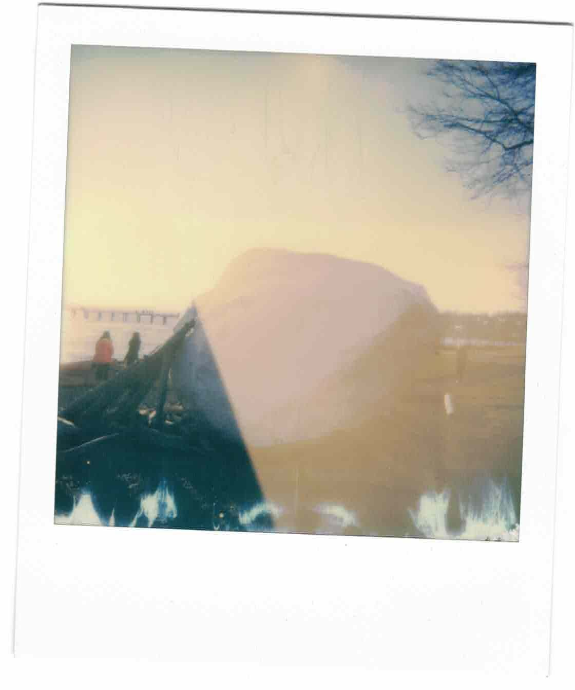 """overexposed Polaroid photo of the """"white rock"""" on the beach in my city of the same name"""