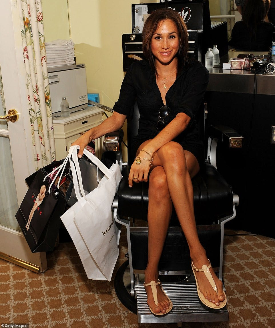 Pictured: Meghan Markle with her feet on full display while attending the DPA pre-Emmy Gift Lounge at the Peninsula Hotel on September 18, 2009