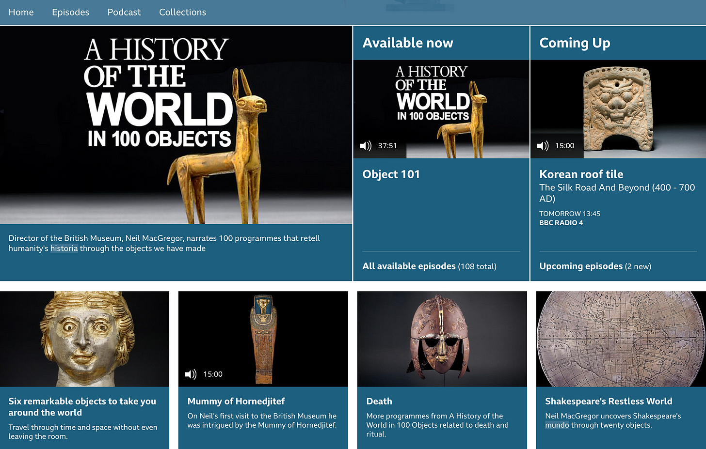 A collection of objects including an ancient roof tile, a mummy and a globe
