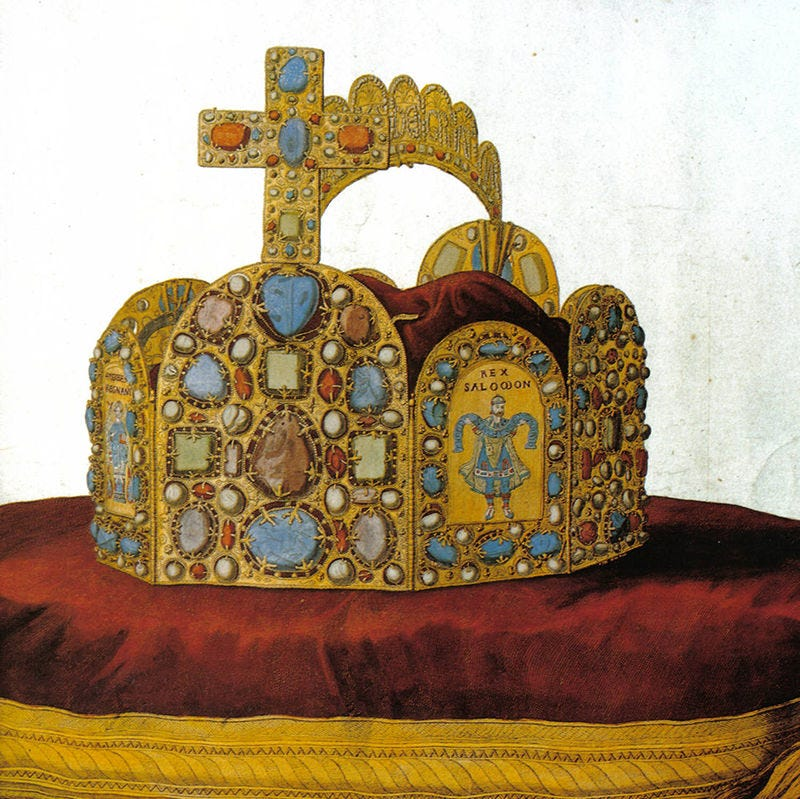 Painting of an elaborate medieval jewelled crown on a red velvet cushion