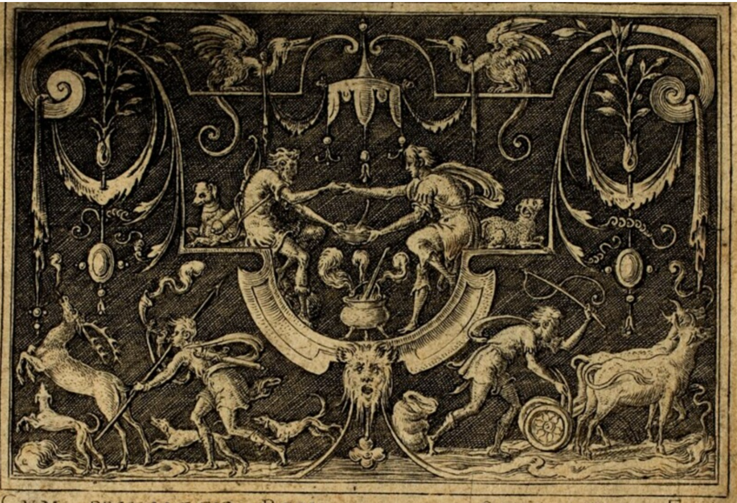 Intricate light brown and black print of two brothers holding one hand and holding a bowl of stew with the other, surrounded by other hunters and critters and decorations.
