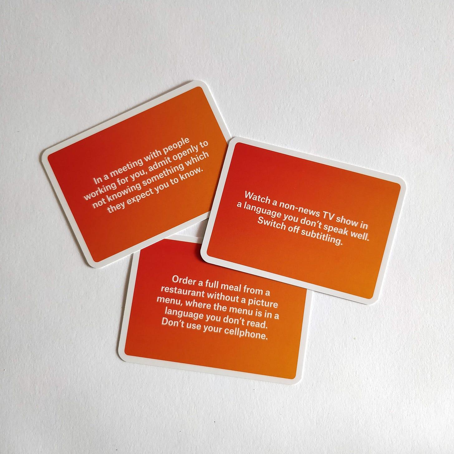 Three idk prompt cards.
