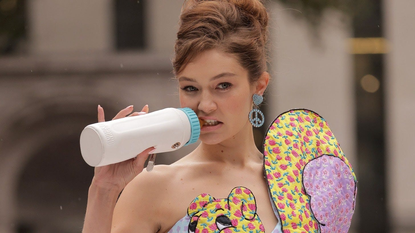 Gigi Hadid's Giant Baby Bottle Stole the Show at Moschino — See Photos |  Teen Vogue