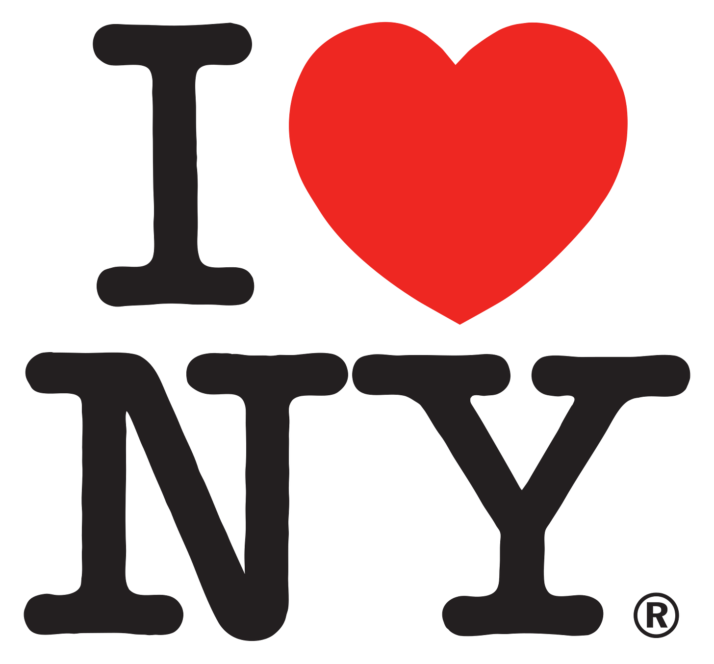 The logo consists of the capital letter I, followed by a red heart symbol, below which are the capital letters N and Y, set in the rounded slab serif typeface American Typewriter.