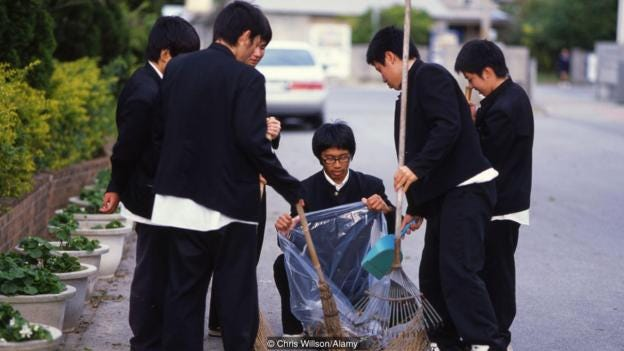 At Japanese schools, cleaning is part of students' everyday routine (Credit: Credit: Chris Willson/Alamy)