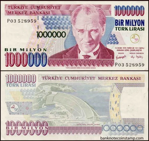 Turkey 1000000 Turkish Lira B290(P213) Used Banknote | Turkish ...