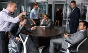 The Big Short, directed by Adam McKay (2015), with from left, Jeremy Strong, Rafe Spall, Hamish Linklater, Steve Carell, Jeffry Griffin and Ryan Gosling.