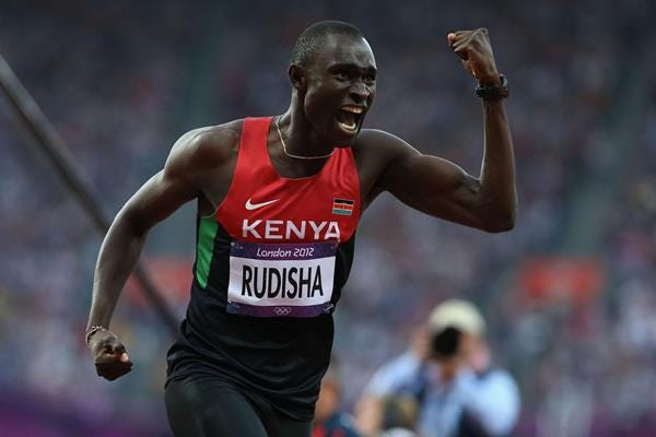 David Rudisha of Kenya celebrates after winning gold and setting a world record in the 800m at the London 2012 Olympics (Getty Images)