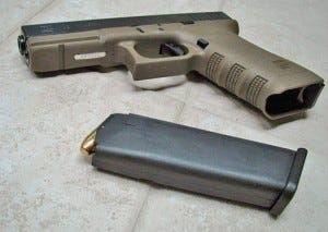 Glock handgun with magazine ejected