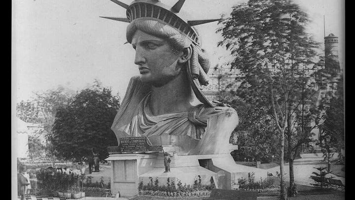 The head of the Statue of Liberty on view in Paris in 1878