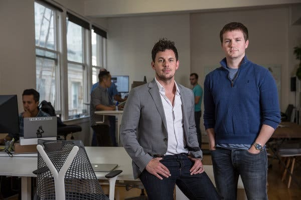 Alex Mather, left, and Adam Hansmann, co-founders of The Athletic, at the company's headquarters in San Francisco.