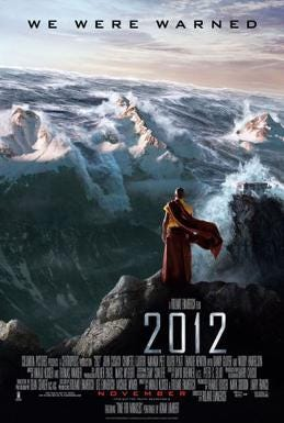 Film poster showing a Nepalese monk on a mountain watching as tsumani waves coming over the Himmalyan mountains, with the film's credits, title and release date in the bottom and tagline above