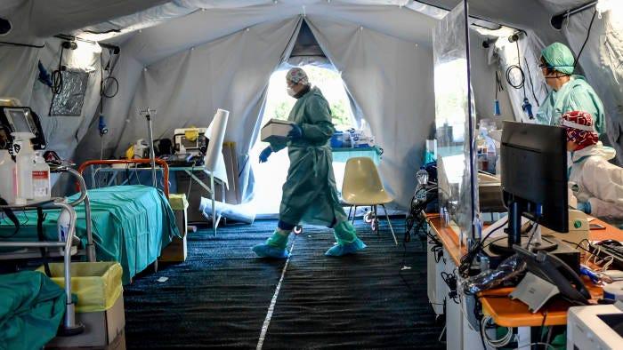Image result for milan coronavirus tent