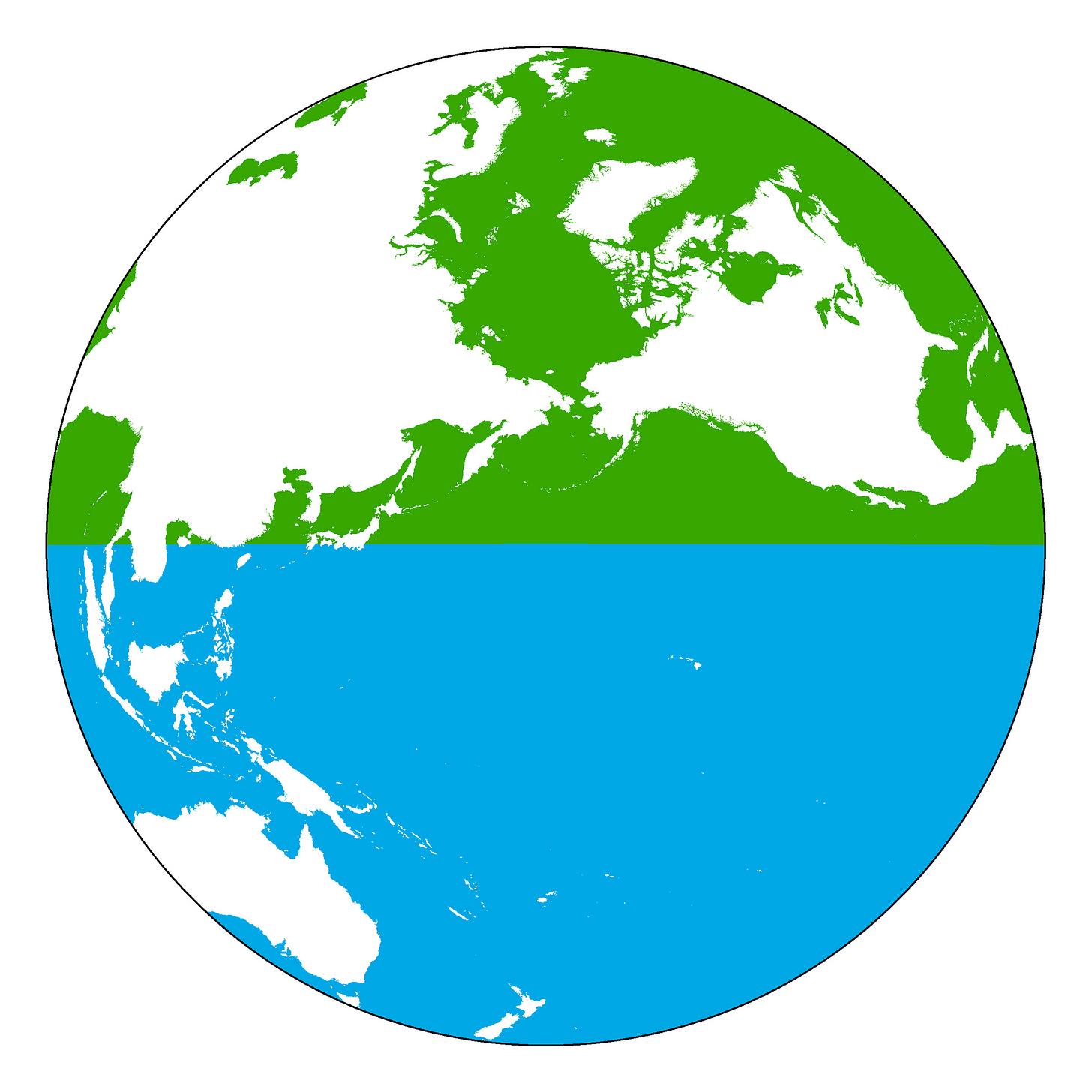 Land Hemisphere top, Water Hemisphere bottom