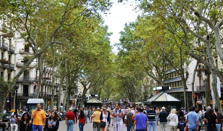 La Ramblas, the main shopping and walking street in the center of Barcelona.
