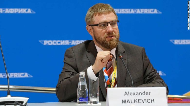 """AFRIC, which describes itself as """"a community of independent researchers, experts and activists,"""" was prominently featured at the Sochi forum and even announced its partnership with a foundation run by Alexander Malkevich."""