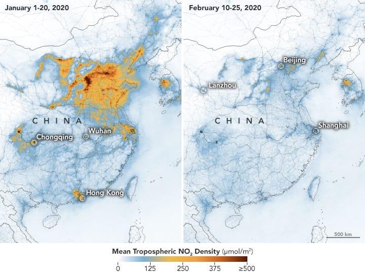 Airborne Nitrogen Dioxide Plummets Over China