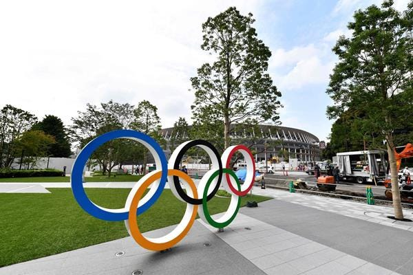 The Olympic rings outside the Tokyo 2020 Olympic Stadium (AFP / Getty Images)
