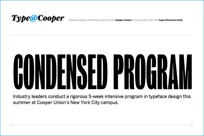 Condensed Program de type@cooper
