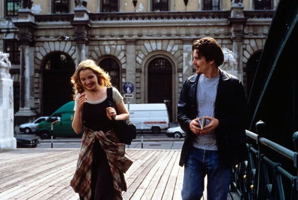 Delpy and Hawke in a scene from the film, which premiered at Sundance 25 years ago.