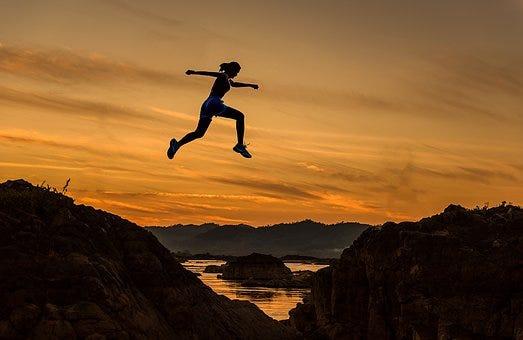 Achieve, Woman, Girl, Jumping, Running