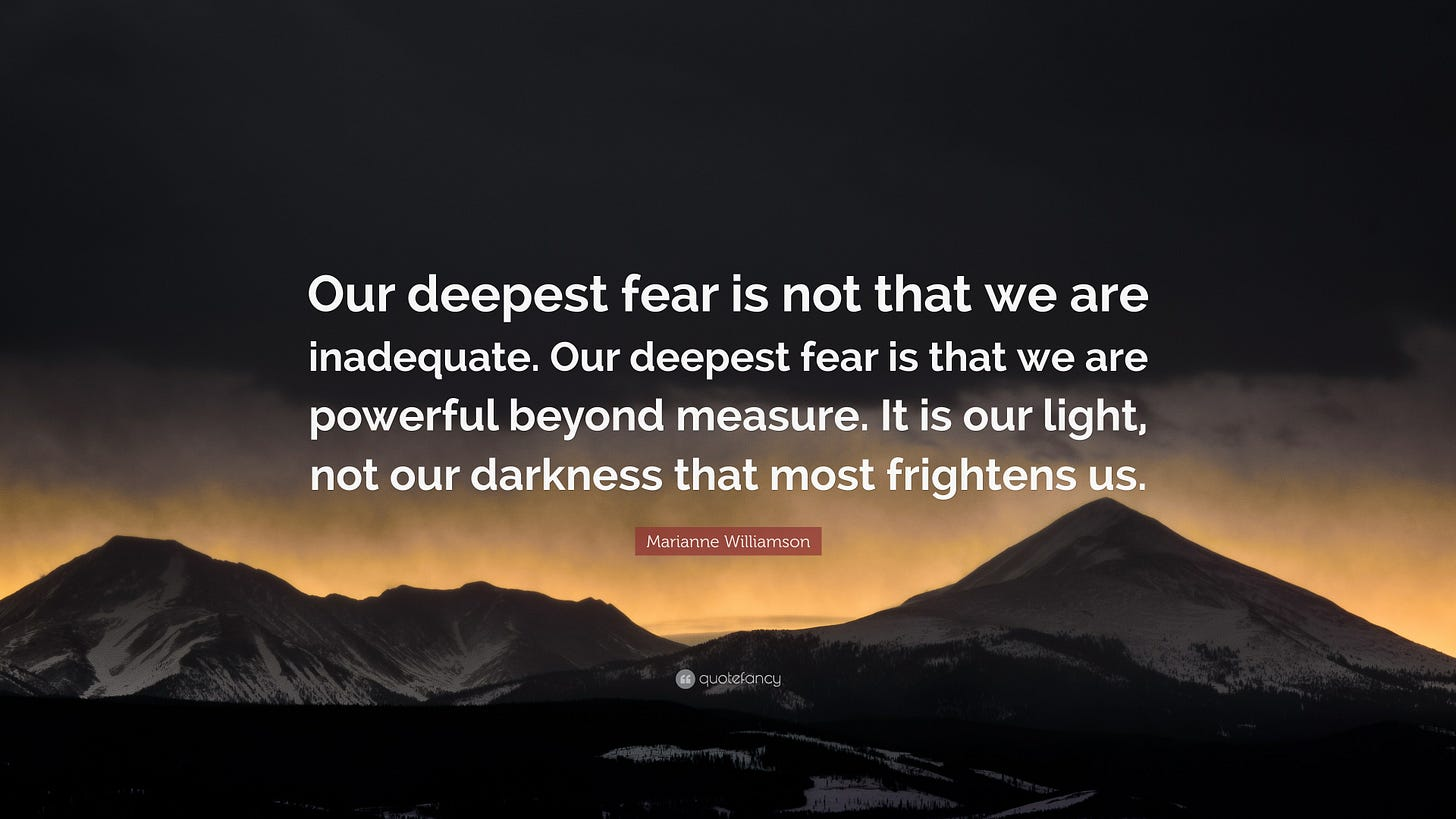 Image result for Marianne williamson we are powerful beyond measure
