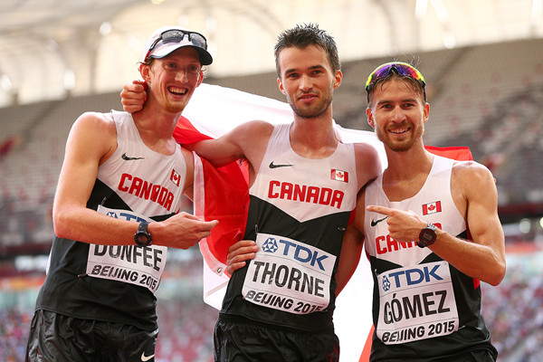 20km race walk bronze medallist Ben Thorne with Canadian team-mates Evan Dunfee and Inaki Gomez at the IAAF World Championships Beijing 2015 (Getty Images)