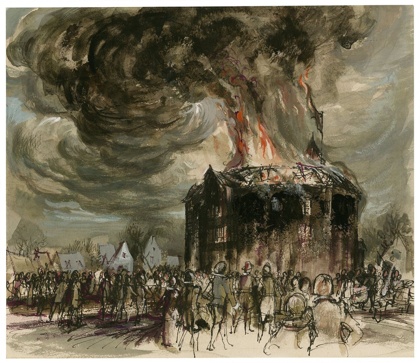 Watercolor illustration of the Globe burning by C. Walter Hodges.