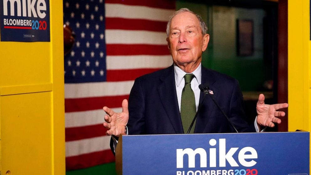 Image result for bloomberg on campaign trail