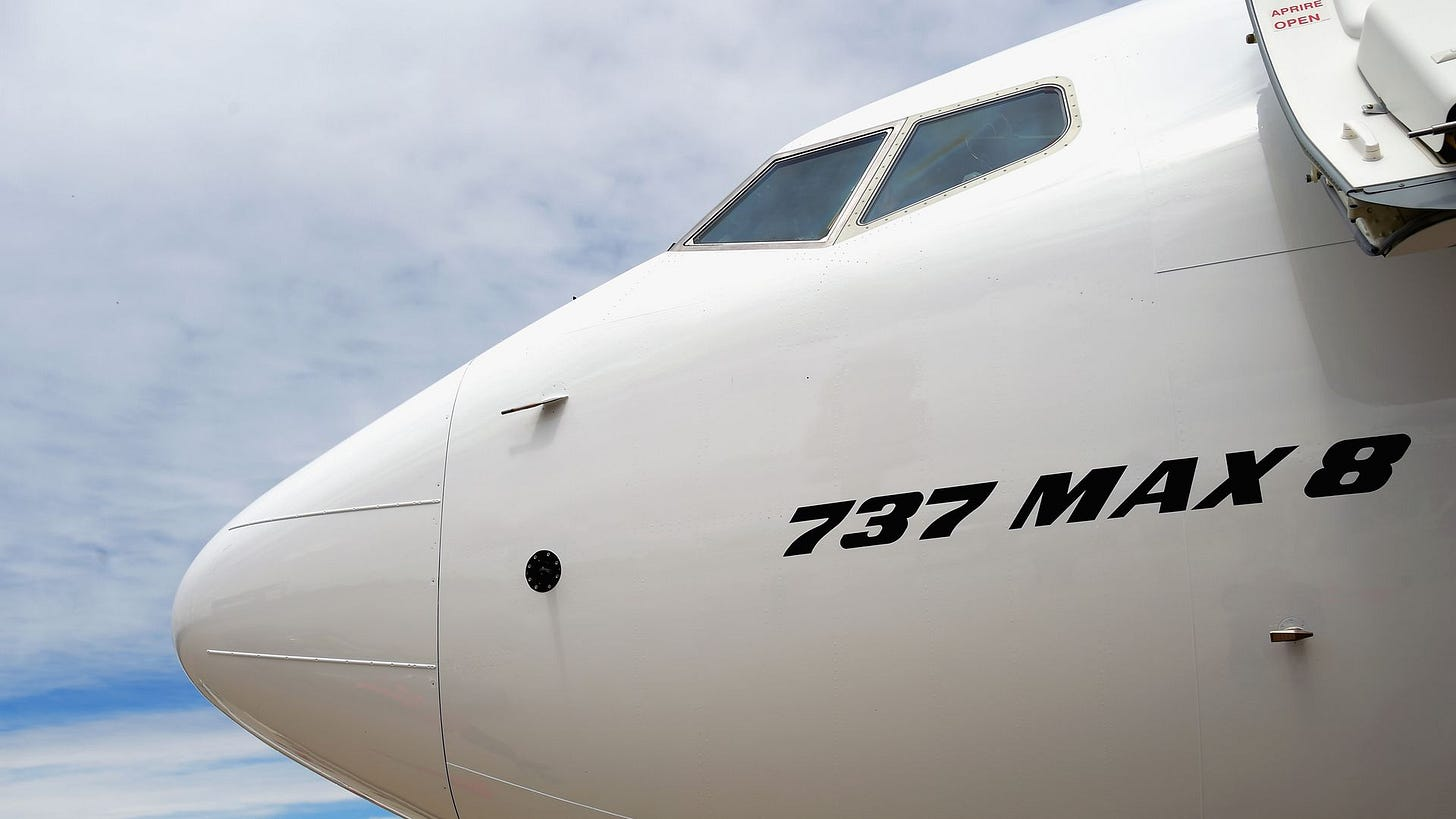 Front end of the 737 max 8 plane