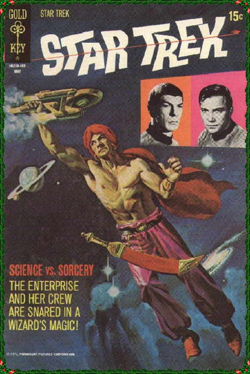 A massive figure, shirtless and wearing a turban with a curved saber on his belt, despite how he is floating in space, grabs the Enterprise in one hand on the cover of Star Trek #10, Gold Key (1971).