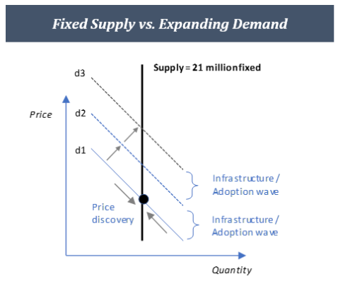 Theoretical demand and supply curves for Bitcoin once 21 million bitcoin has been mined.