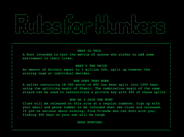 Rules for a global treasure hunt for Bitcoin.