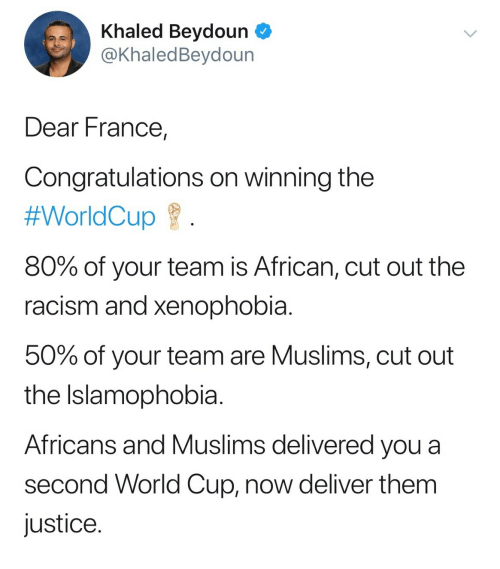 Image result for france tweet world cup Khaled Beydoun