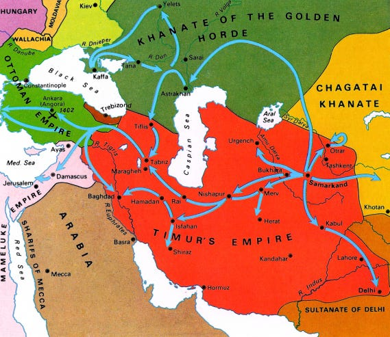 Map - Timur's Conquests