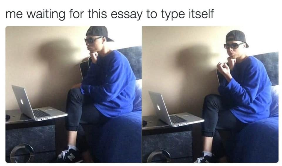 May be an image of 1 person and text that says 'me waiting for this essay to type itself'