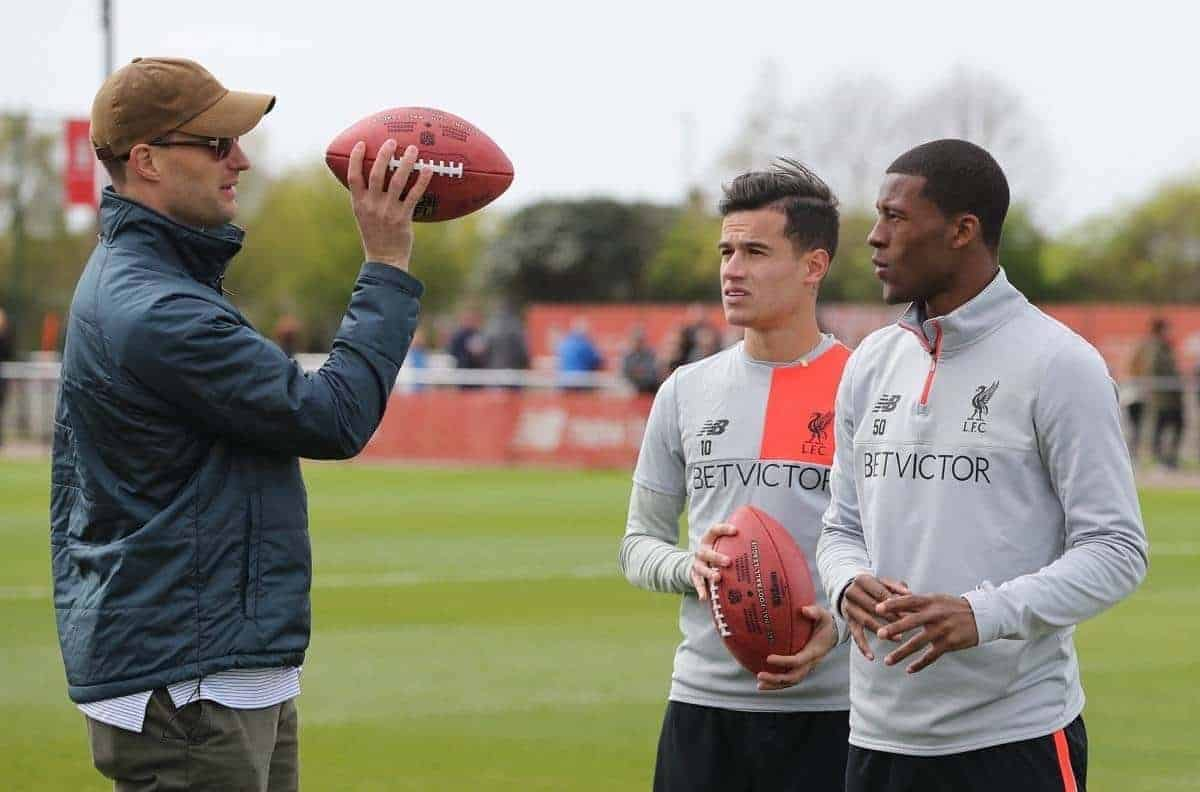 11/4/2017 Washington Redskins Quarterback Kirk Cousins and Miami Dolphins Wide Receiver Jarvis Landry visit Liverpool FC and meet Players Philippe Coutinho and Georginio Wijnaldum Picture Dave Shopland NFL/UK