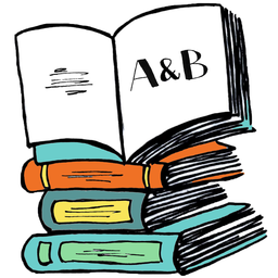 """Agents and Books logo: an open books sits atop a stack of books with """"A&B"""" scribbled on the right-hand page."""