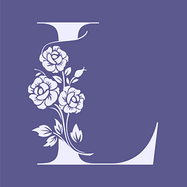 Logo a purple backgroudn with a stylized L with flowers on the stem