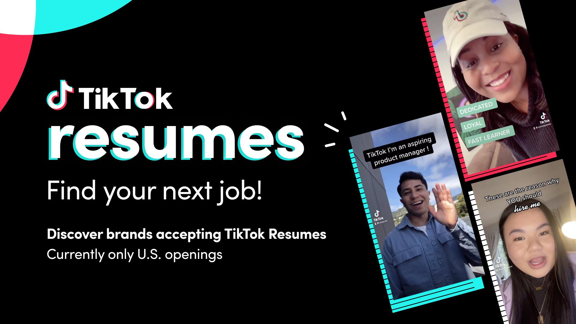 Find a job with TikTok Resumes   TikTok Newsroom