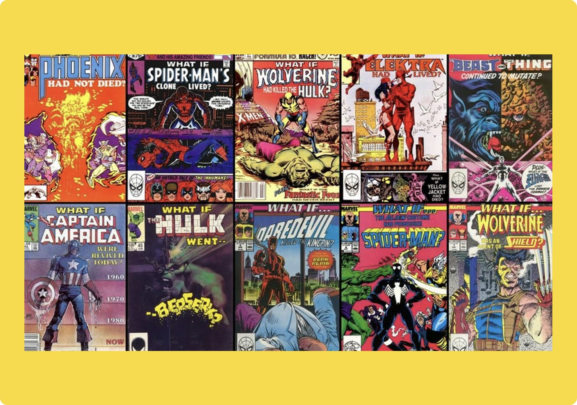 """Collection of comic book covers for """"What if?..."""""""