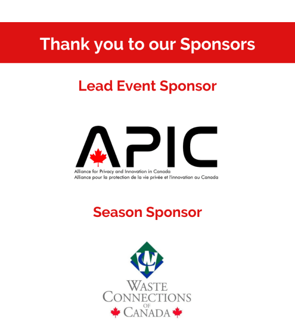 A graphic featuring logos of sponsors for the event including, APIC as Lead Event Sponsor and Waste Connections Canada as the Season Sponsor.