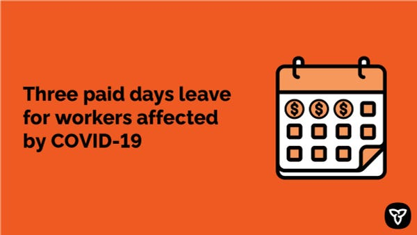 Graphic of a calendar. Three paid days leave for workers affected by COVID-19
