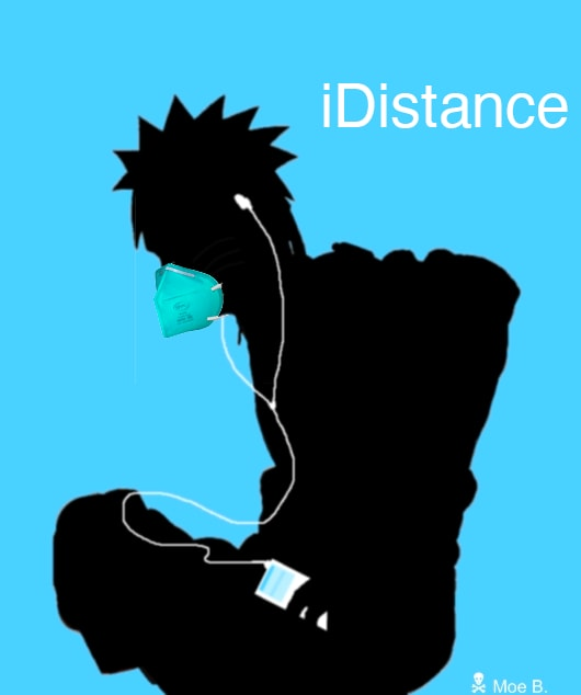 """a naruto character silouette with an ipod touch, mask, and """"iDistance"""""""