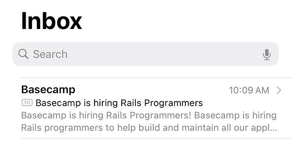 """An email from Basecamp with the subject line """"Basecamp is hiring Rails Programmers"""""""