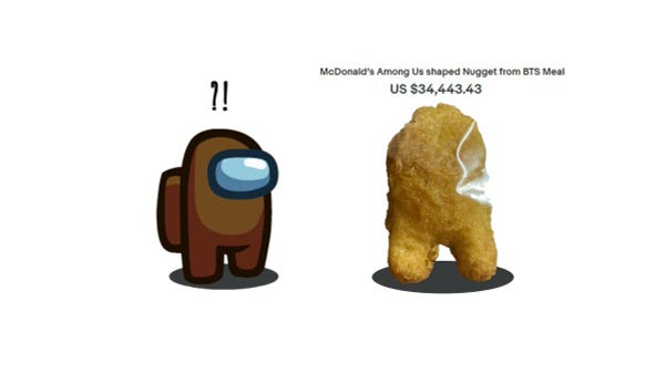"""McDonald's Among Us shaped Nugget from BTS Meal standing next to a Brown Crewmate with """"?!"""" over their head"""