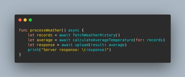A Swift 5.5 function marked with the async keyword. Inside it awaits three other asynchronous functions, then prints a final result.