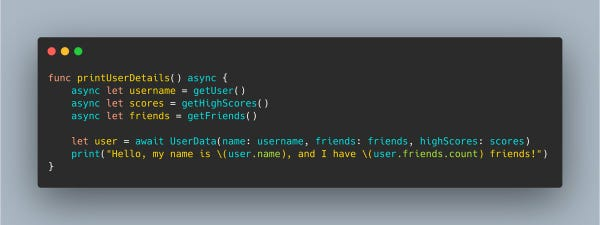 A Swift 5.5 function that uses async let to start three child tasks, then uses await to wait for all three to finish before using them together.