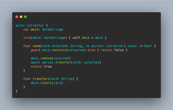 A Swift 5.5 actor that has a deck of cards and can safely trade them with another user.
