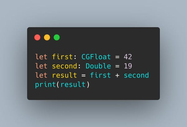 A Swift snippet that shows a CGFloat being added to a Double with no problems.